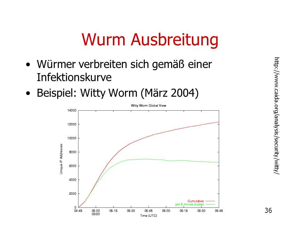 Wurm Ausbreitung Würmer verbreiten sich gemäß einer Infektionskurve