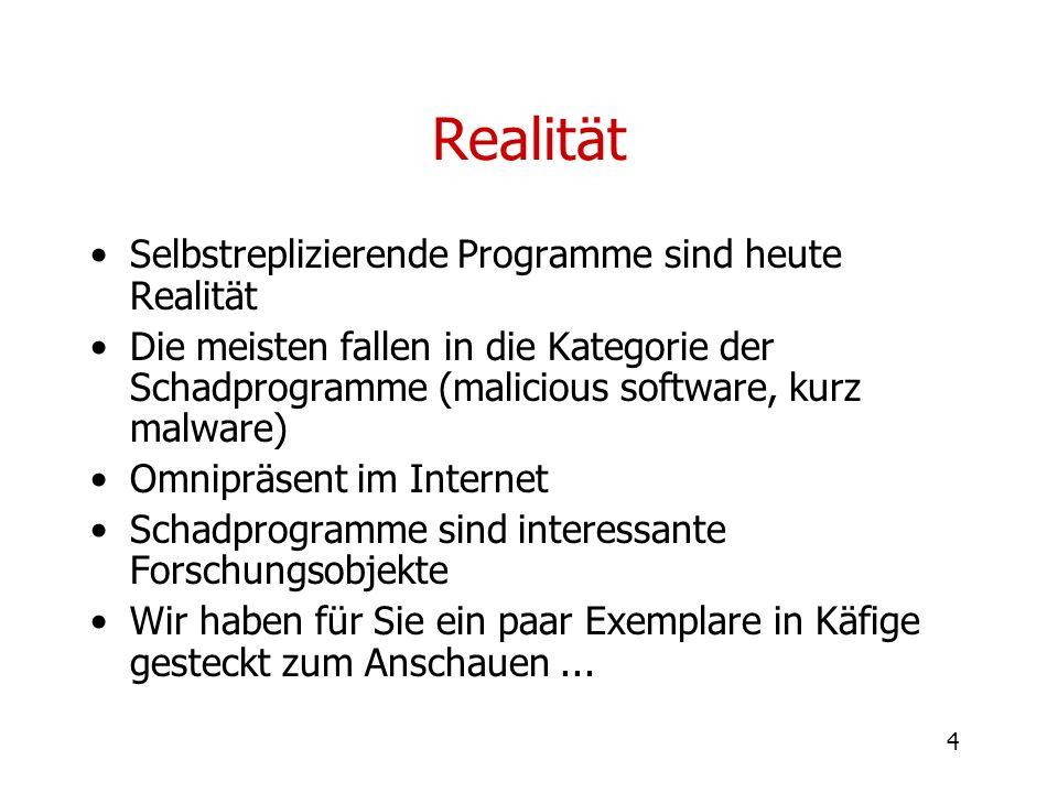 Realität Selbstreplizierende Programme sind heute Realität