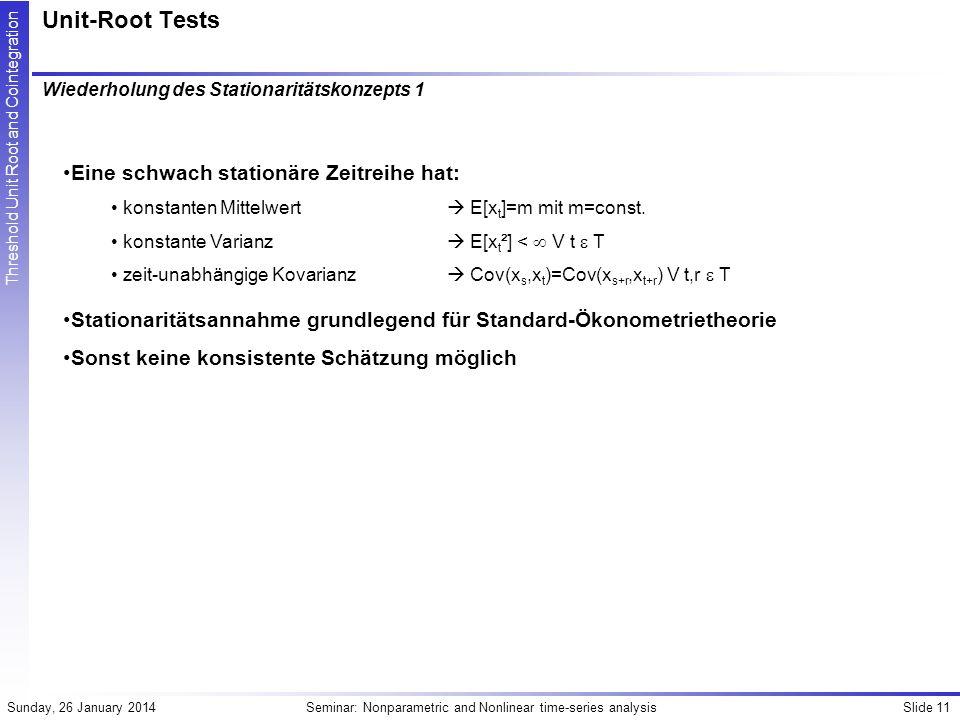 Unit-Root Tests Eine schwach stationäre Zeitreihe hat: