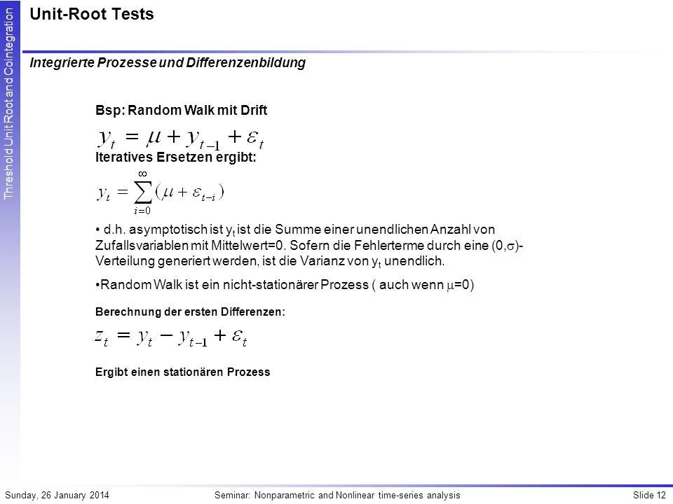 Unit-Root Tests Integrierte Prozesse und Differenzenbildung