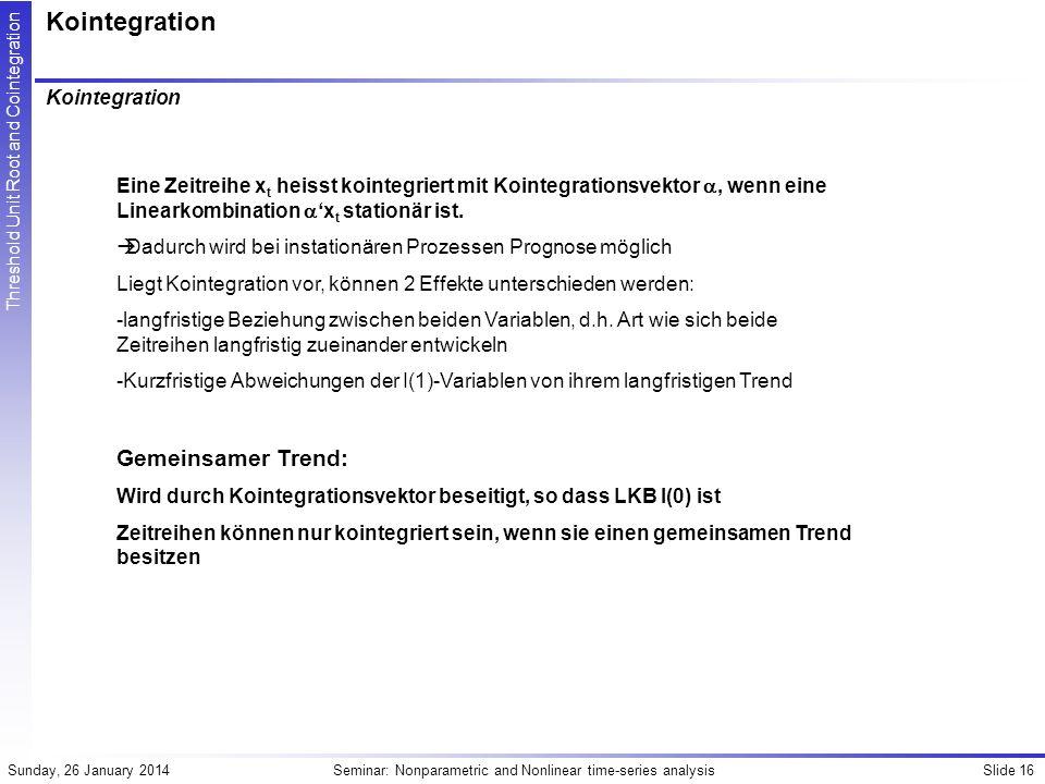 Kointegration Gemeinsamer Trend: Kointegration