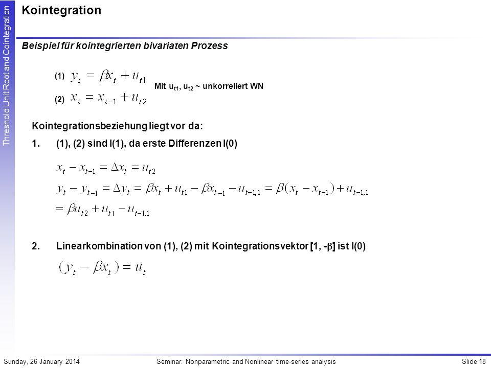 Kointegration Beispiel für kointegrierten bivariaten Prozess