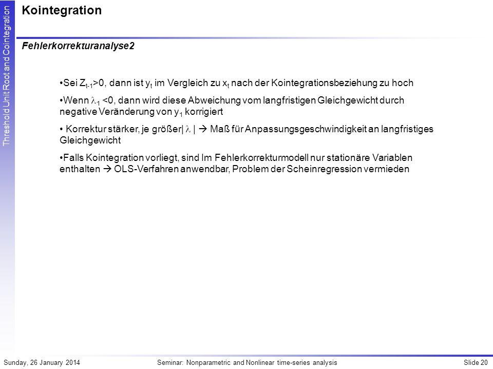 Kointegration Fehlerkorrekturanalyse2