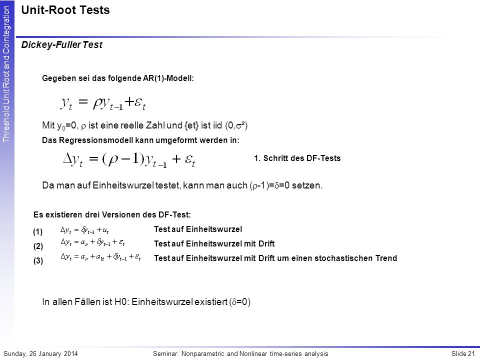 Unit-Root Tests Dickey-Fuller Test