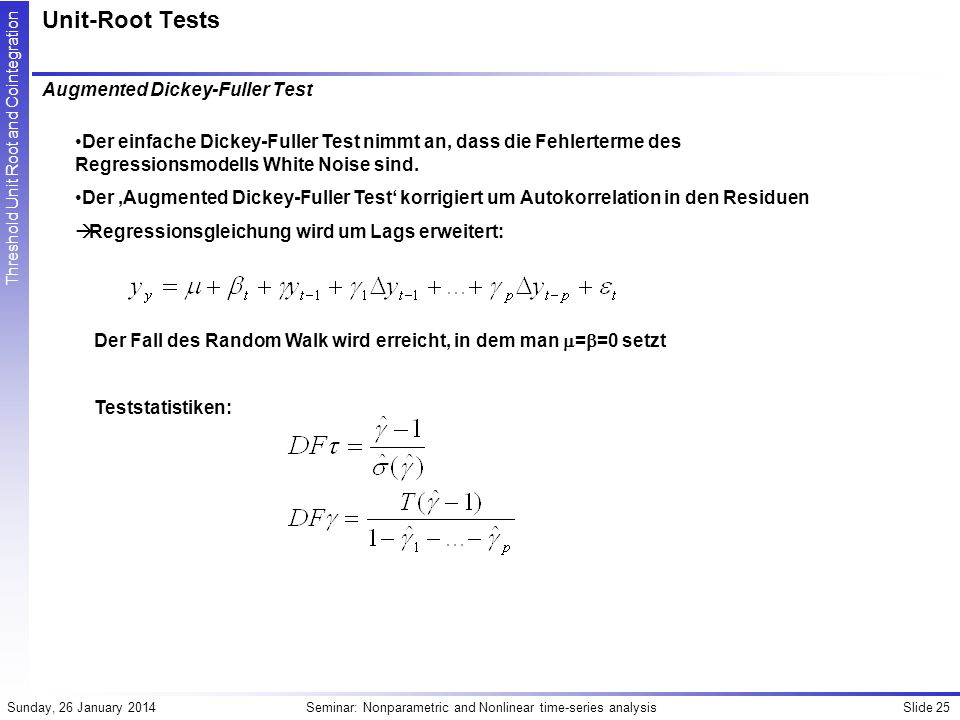 Unit-Root Tests Augmented Dickey-Fuller Test
