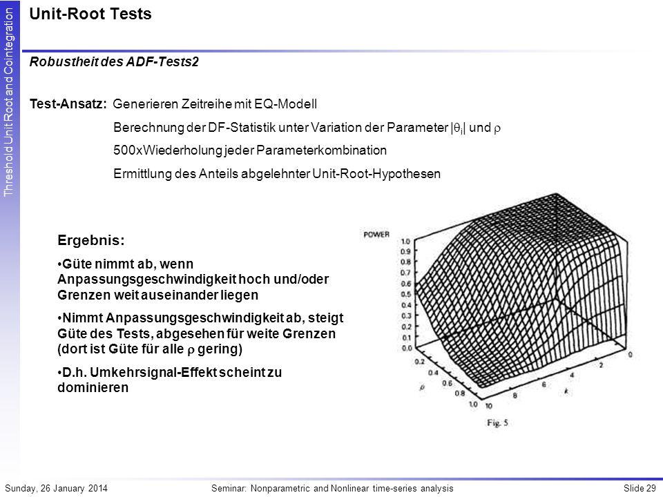 Unit-Root Tests Ergebnis: Robustheit des ADF-Tests2