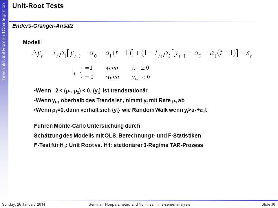 Unit-Root Tests It Enders-Granger-Ansatz Modell: