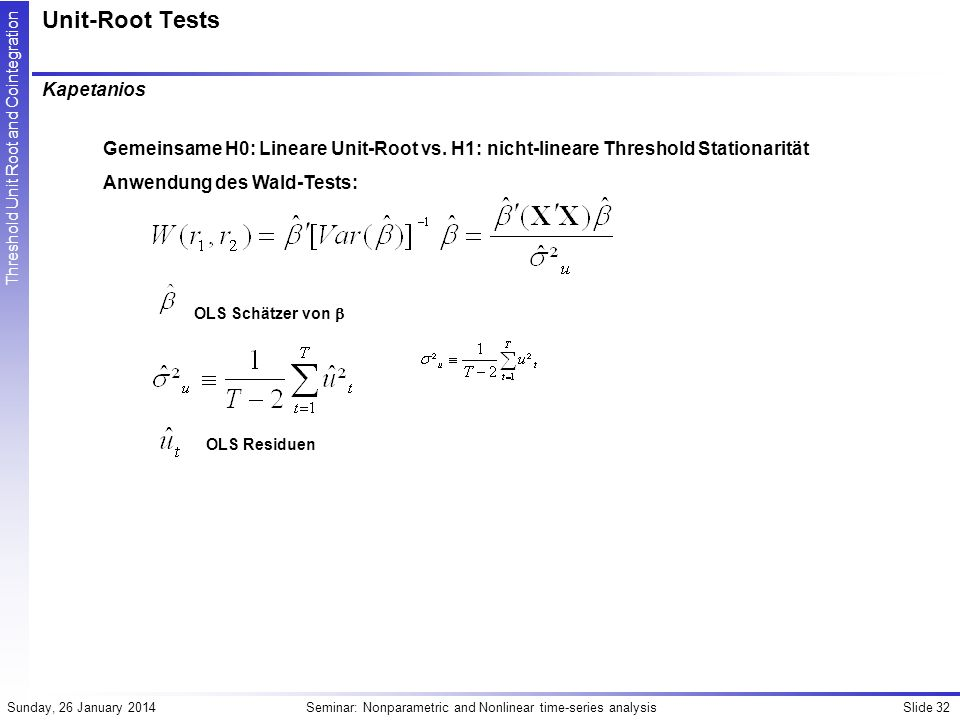 Unit-Root Tests Kapetanios