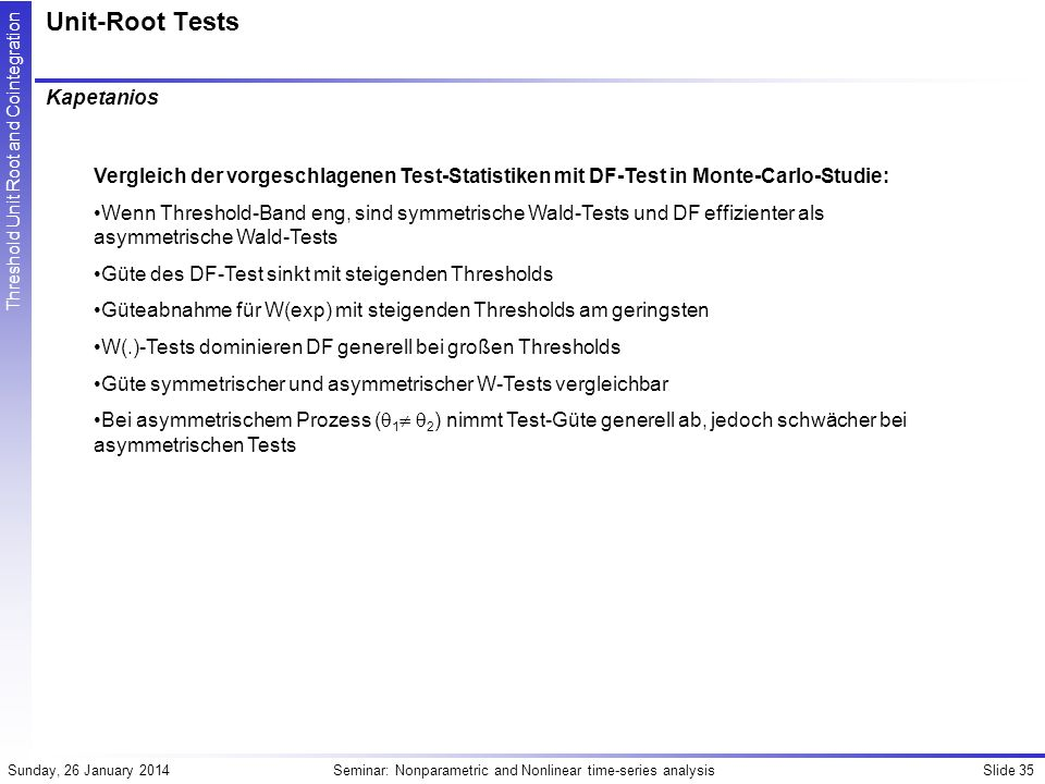 Unit-Root Tests Kapetanios