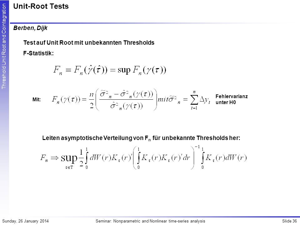 Unit-Root Tests Berben, Dijk