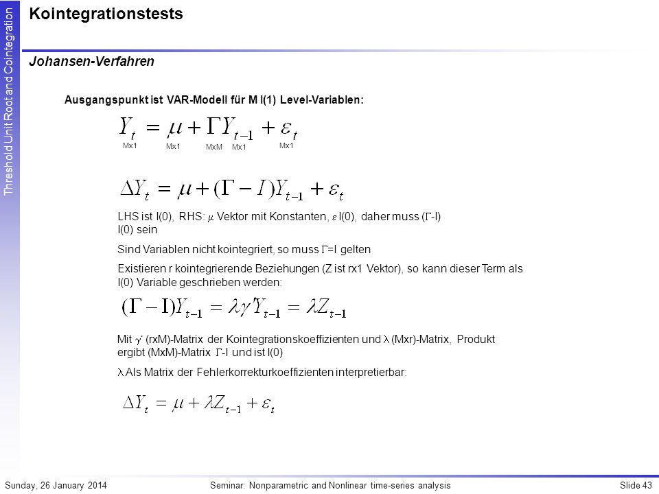 Kointegrationstests Johansen-Verfahren
