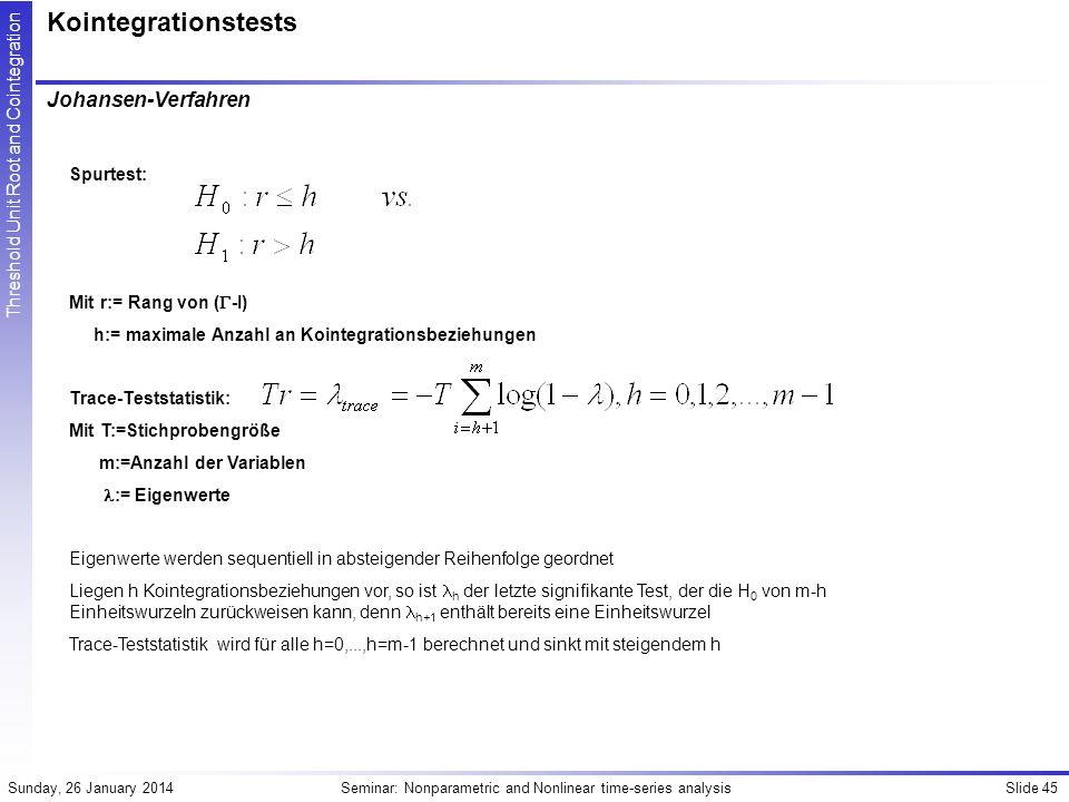 Kointegrationstests Johansen-Verfahren Spurtest: