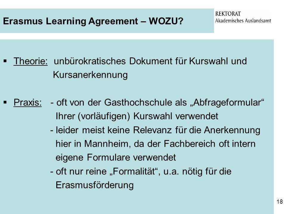 Erasmus Learning Agreement – WOZU
