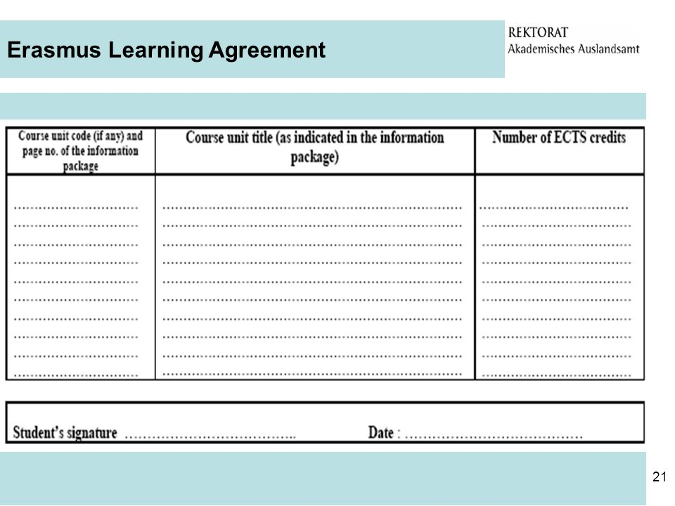 Erasmus Learning Agreement