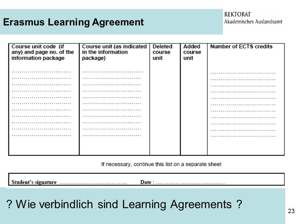 Wie verbindlich sind Learning Agreements