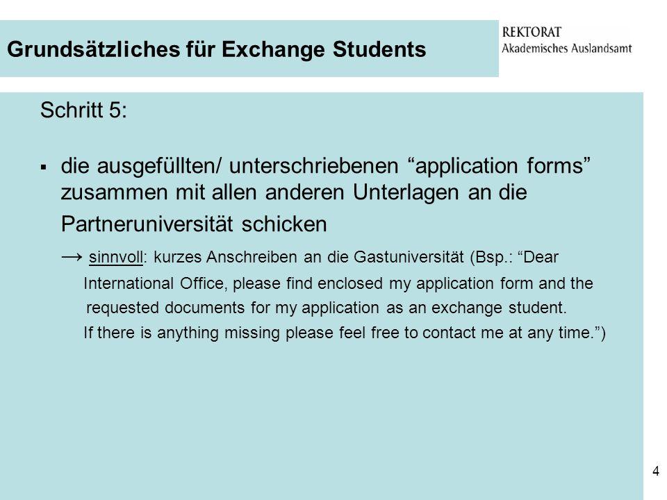 Grundsätzliches für Exchange Students