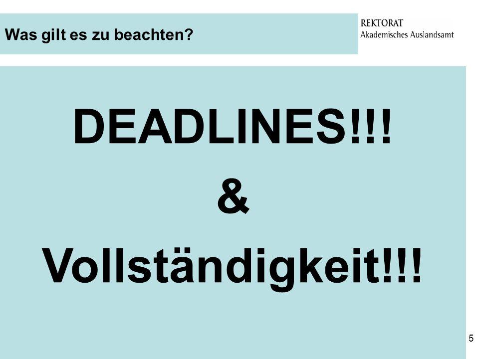 DEADLINES!!! & Vollständigkeit!!!