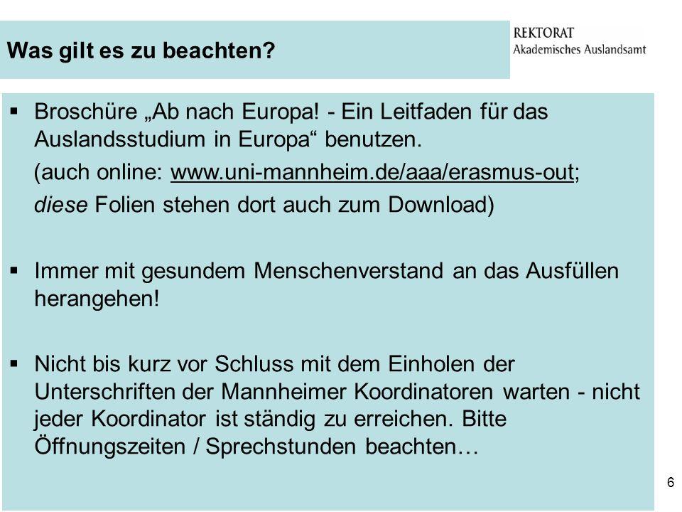 """Was gilt es zu beachten Broschüre """"Ab nach Europa! - Ein Leitfaden für das Auslandsstudium in Europa benutzen."""