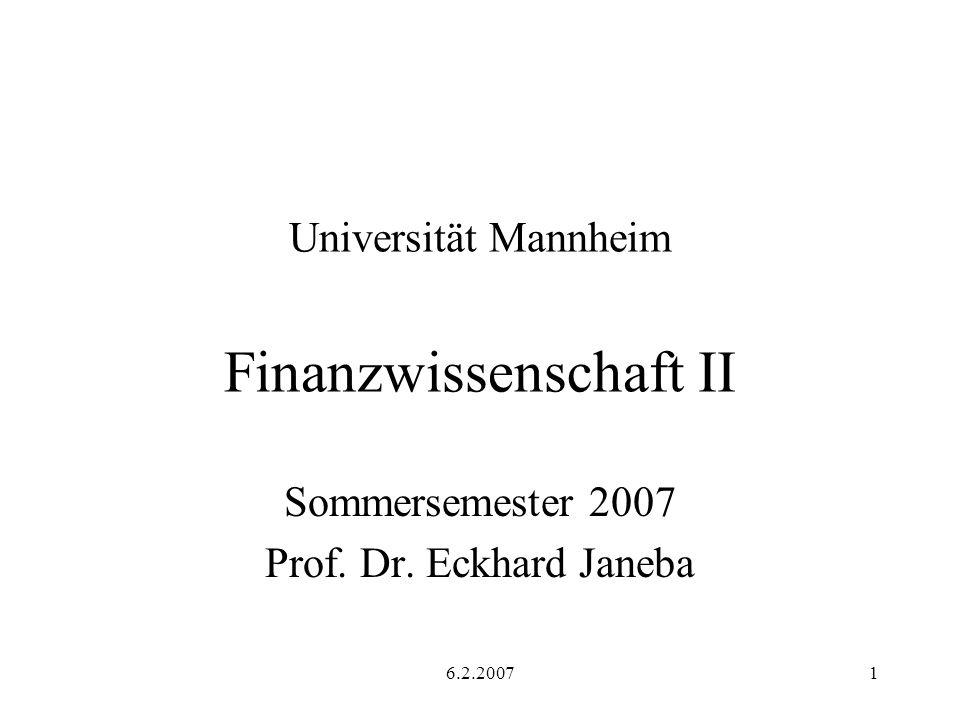Universität Mannheim Finanzwissenschaft II