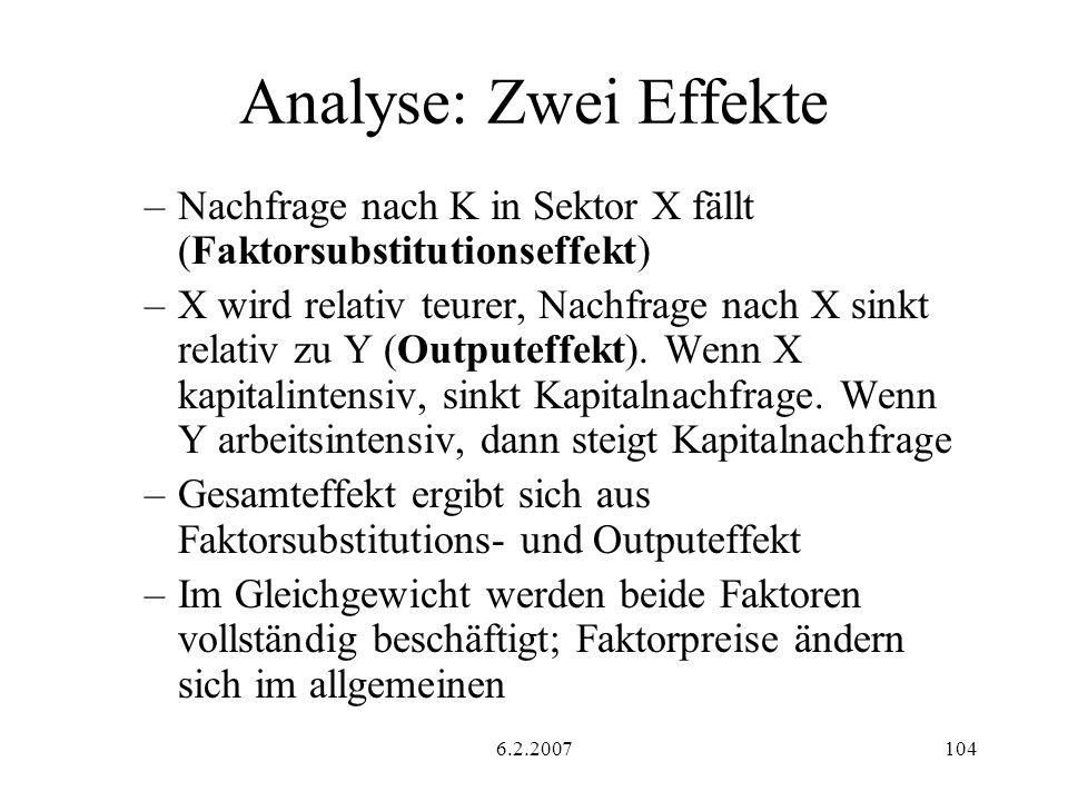 Analyse: Zwei Effekte Nachfrage nach K in Sektor X fällt (Faktorsubstitutionseffekt)