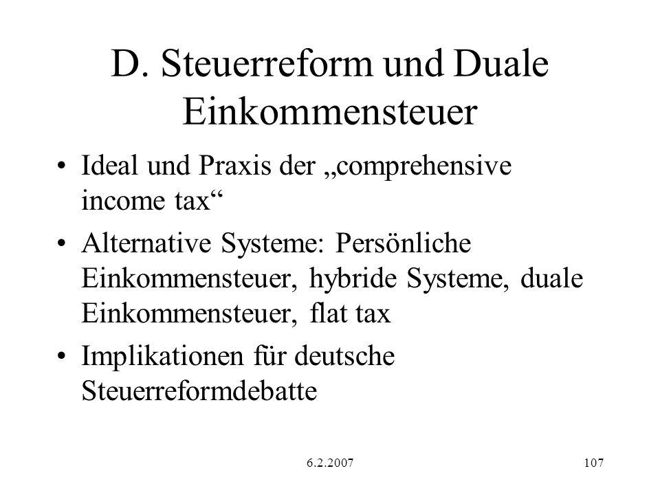 D. Steuerreform und Duale Einkommensteuer