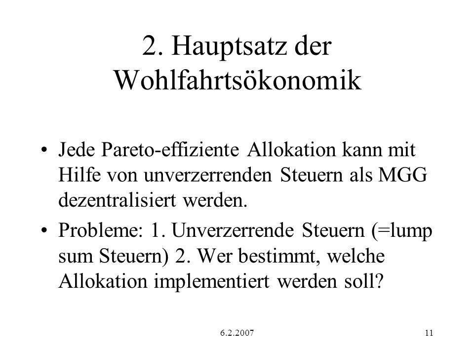 2. Hauptsatz der Wohlfahrtsökonomik