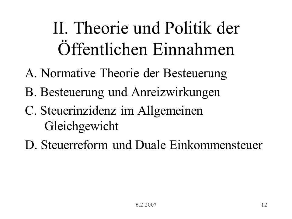 II. Theorie und Politik der Öffentlichen Einnahmen