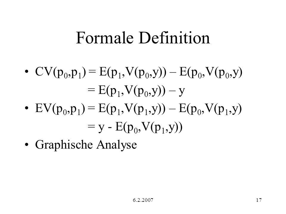 Formale Definition CV(p0,p1) = E(p1,V(p0,y)) – E(p0,V(p0,y)