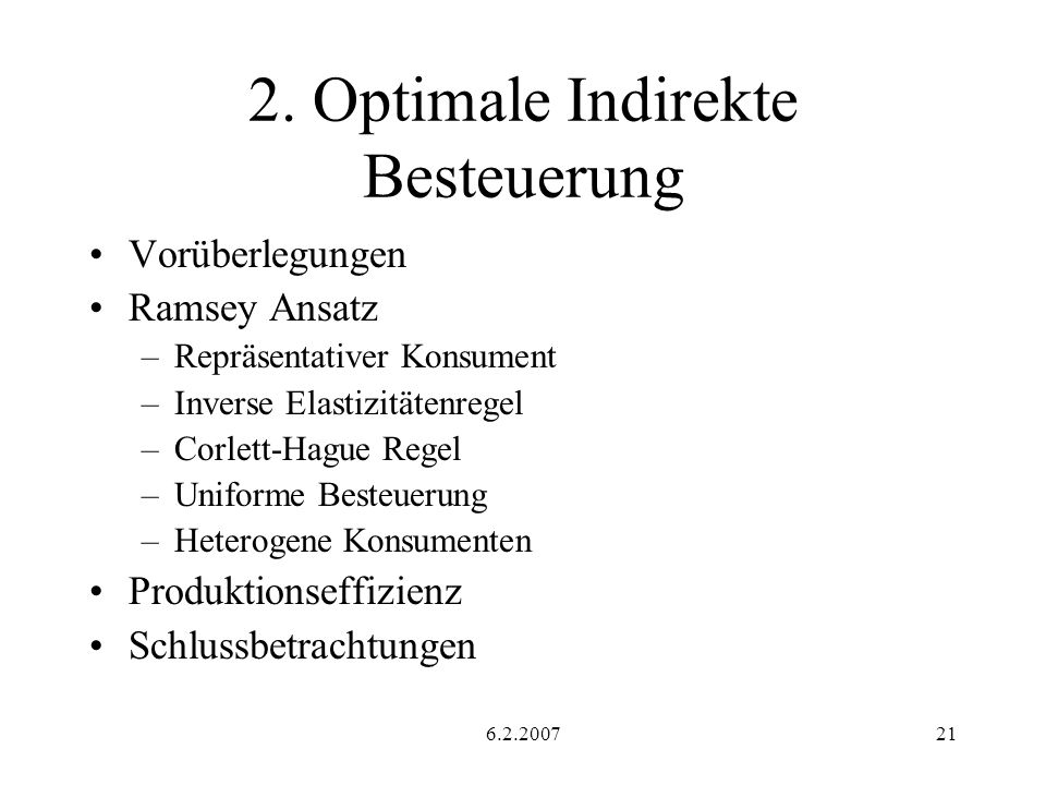 2. Optimale Indirekte Besteuerung