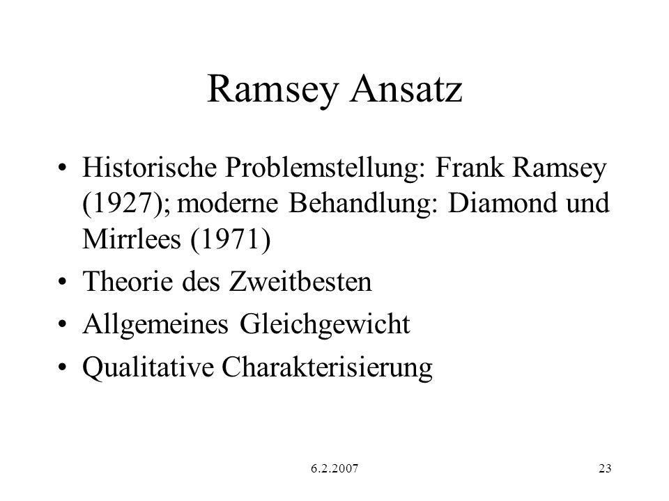 Ramsey Ansatz Historische Problemstellung: Frank Ramsey (1927); moderne Behandlung: Diamond und Mirrlees (1971)