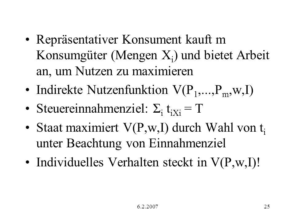 Indirekte Nutzenfunktion V(P1,...,Pm,w,I)