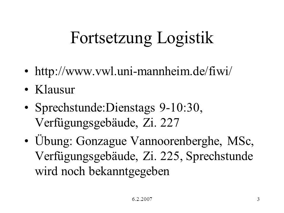 Fortsetzung Logistik http://www.vwl.uni-mannheim.de/fiwi/ Klausur