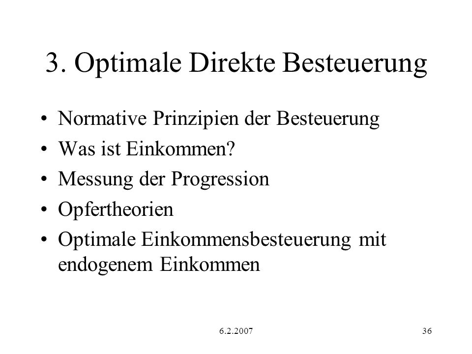 3. Optimale Direkte Besteuerung