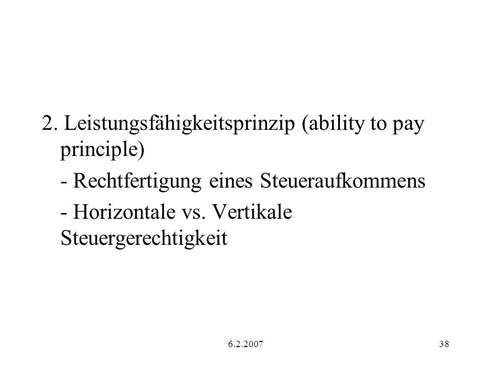 2. Leistungsfähigkeitsprinzip (ability to pay principle)