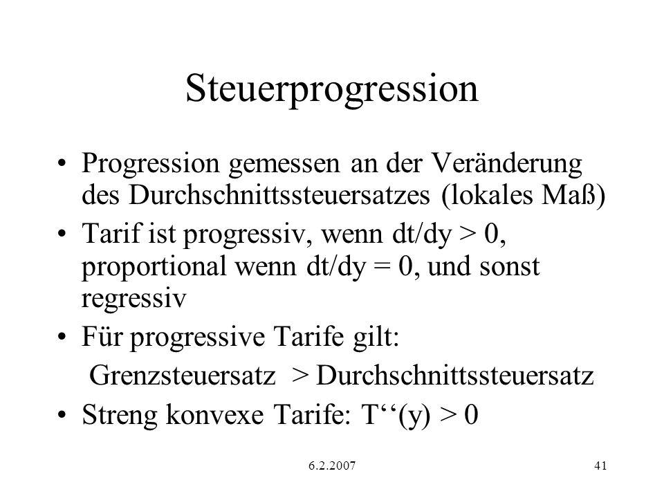 Steuerprogression Progression gemessen an der Veränderung des Durchschnittssteuersatzes (lokales Maß)
