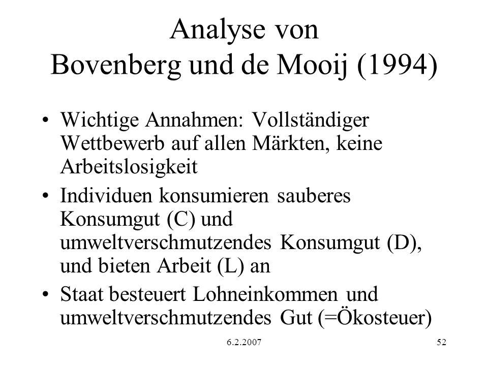 Analyse von Bovenberg und de Mooij (1994)