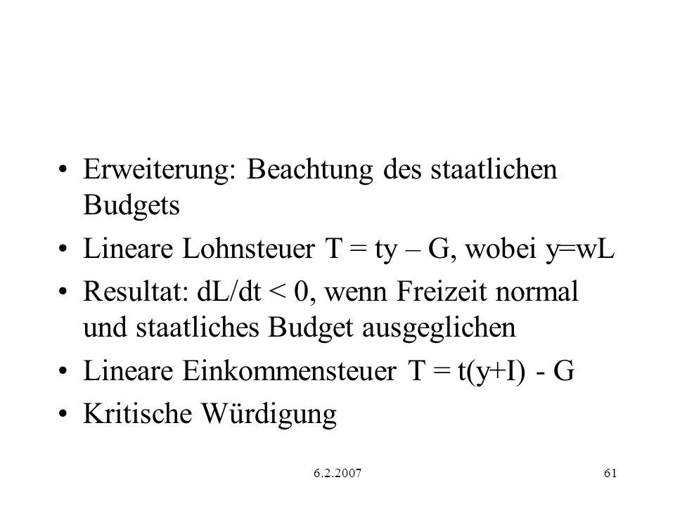 Erweiterung: Beachtung des staatlichen Budgets