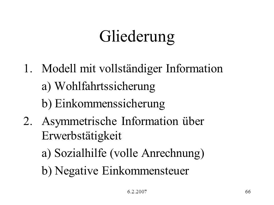 Gliederung Modell mit vollständiger Information a) Wohlfahrtssicherung
