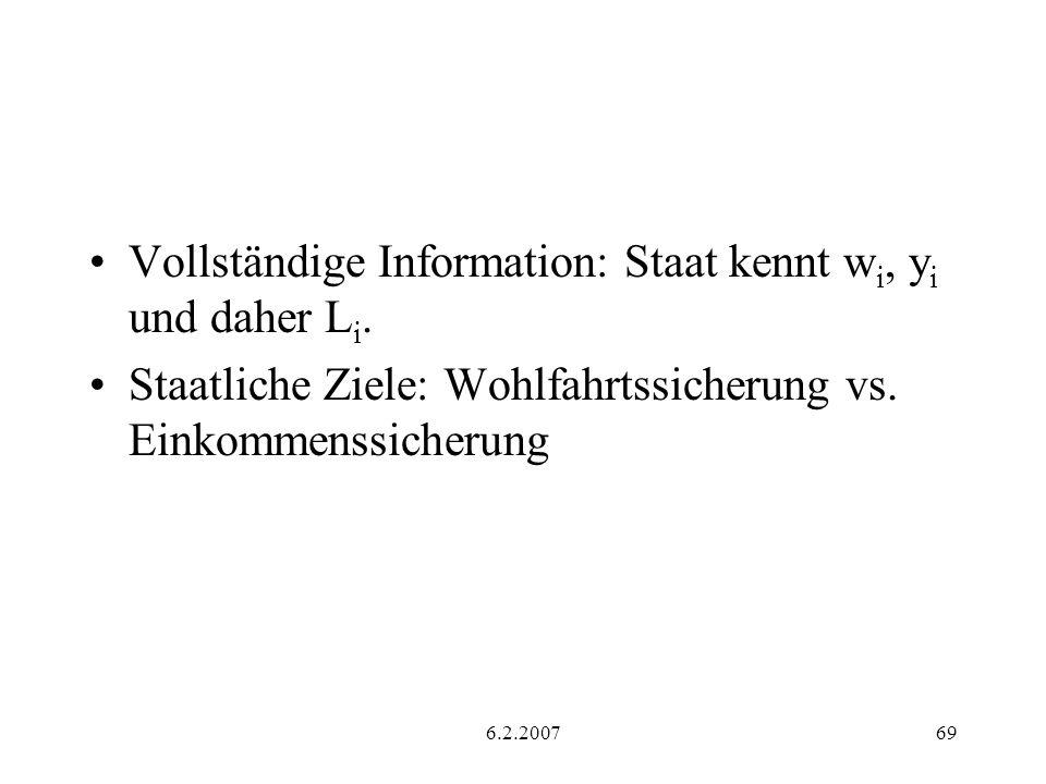 Vollständige Information: Staat kennt wi, yi und daher Li.