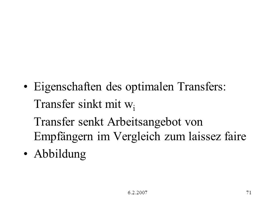 Eigenschaften des optimalen Transfers: Transfer sinkt mit wi
