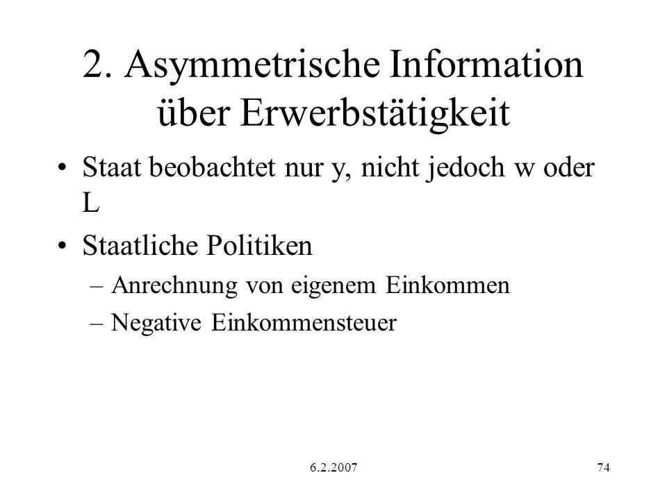 2. Asymmetrische Information über Erwerbstätigkeit