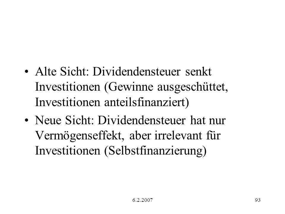 Alte Sicht: Dividendensteuer senkt Investitionen (Gewinne ausgeschüttet, Investitionen anteilsfinanziert)
