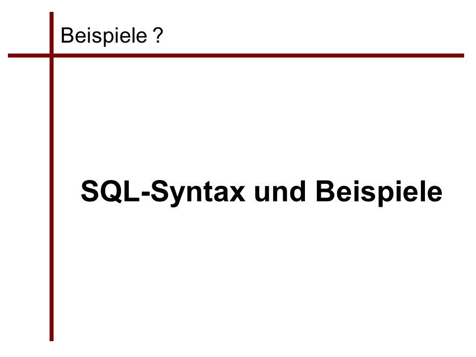 SQL-Syntax und Beispiele