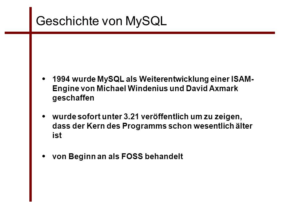 Geschichte von MySQL 1994 wurde MySQL als Weiterentwicklung einer ISAM-Engine von Michael Windenius und David Axmark geschaffen.