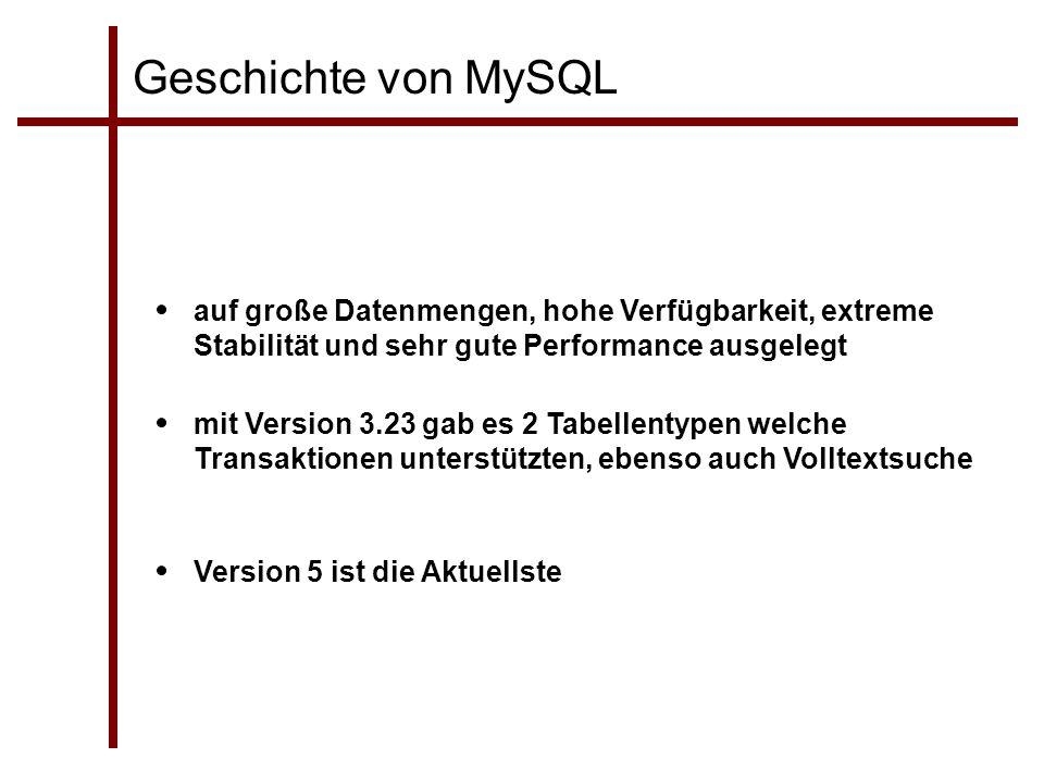 Geschichte von MySQL auf große Datenmengen, hohe Verfügbarkeit, extreme Stabilität und sehr gute Performance ausgelegt.