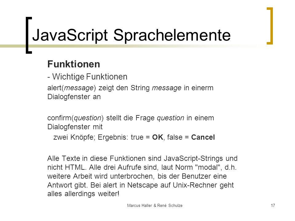JavaScript Sprachelemente