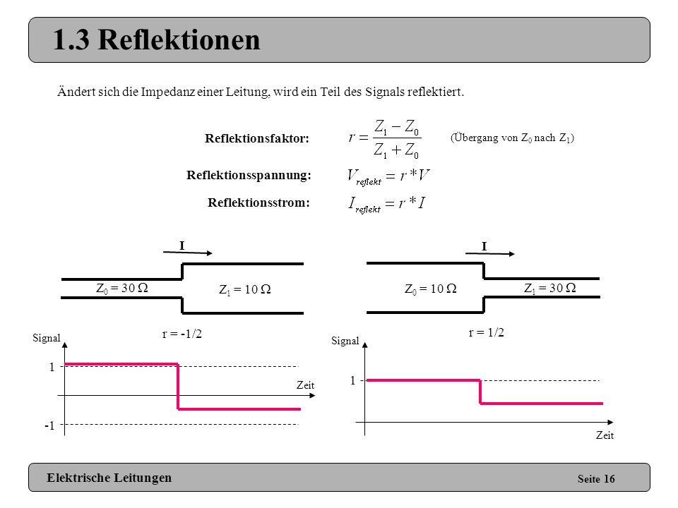 1.3 Reflektionen Ändert sich die Impedanz einer Leitung, wird ein Teil des Signals reflektiert. Reflektionsfaktor: