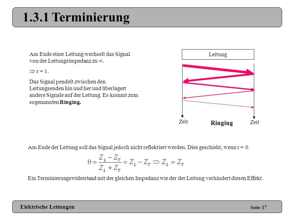 1.3.1 Terminierung Am Ende einer Leitung wechselt das Signal von der Leitungsimpedanz zu .  r = 1.