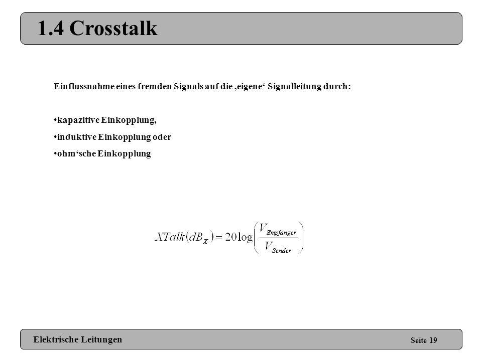 1.4 Crosstalk Einflussnahme eines fremden Signals auf die 'eigene' Signalleitung durch: kapazitive Einkopplung,