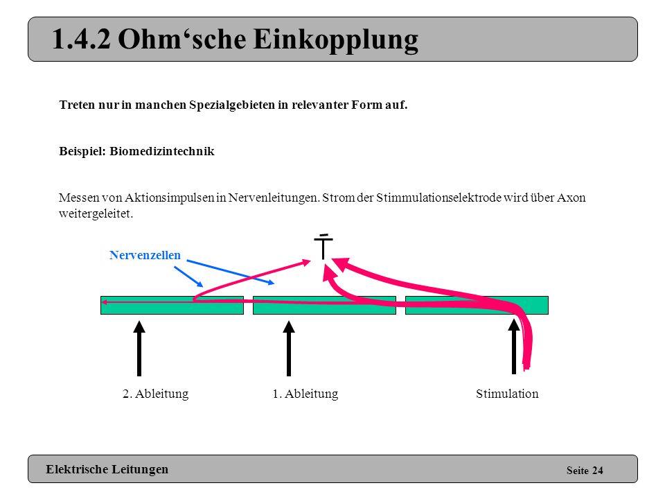1.4.2 Ohm'sche Einkopplung Treten nur in manchen Spezialgebieten in relevanter Form auf. Beispiel: Biomedizintechnik.